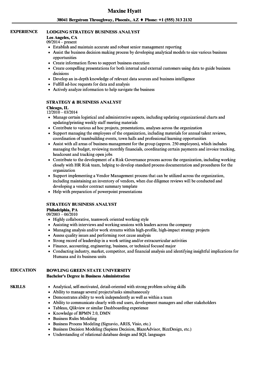 download strategy business analyst resume sample as image file