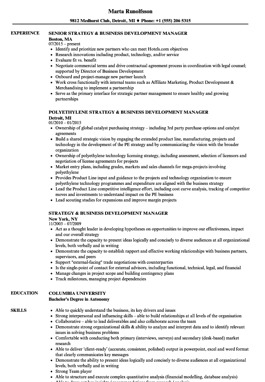 Strategy & Business Development Manager Resume Samples | Velvet Jobs