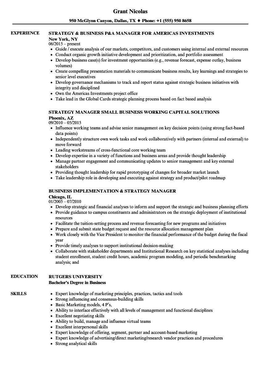 strategy business manager resume samples