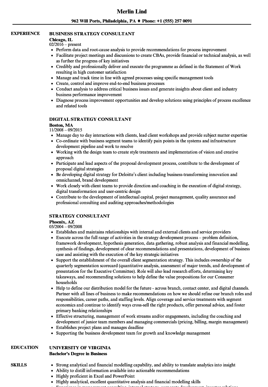 strategy consultant resume samples