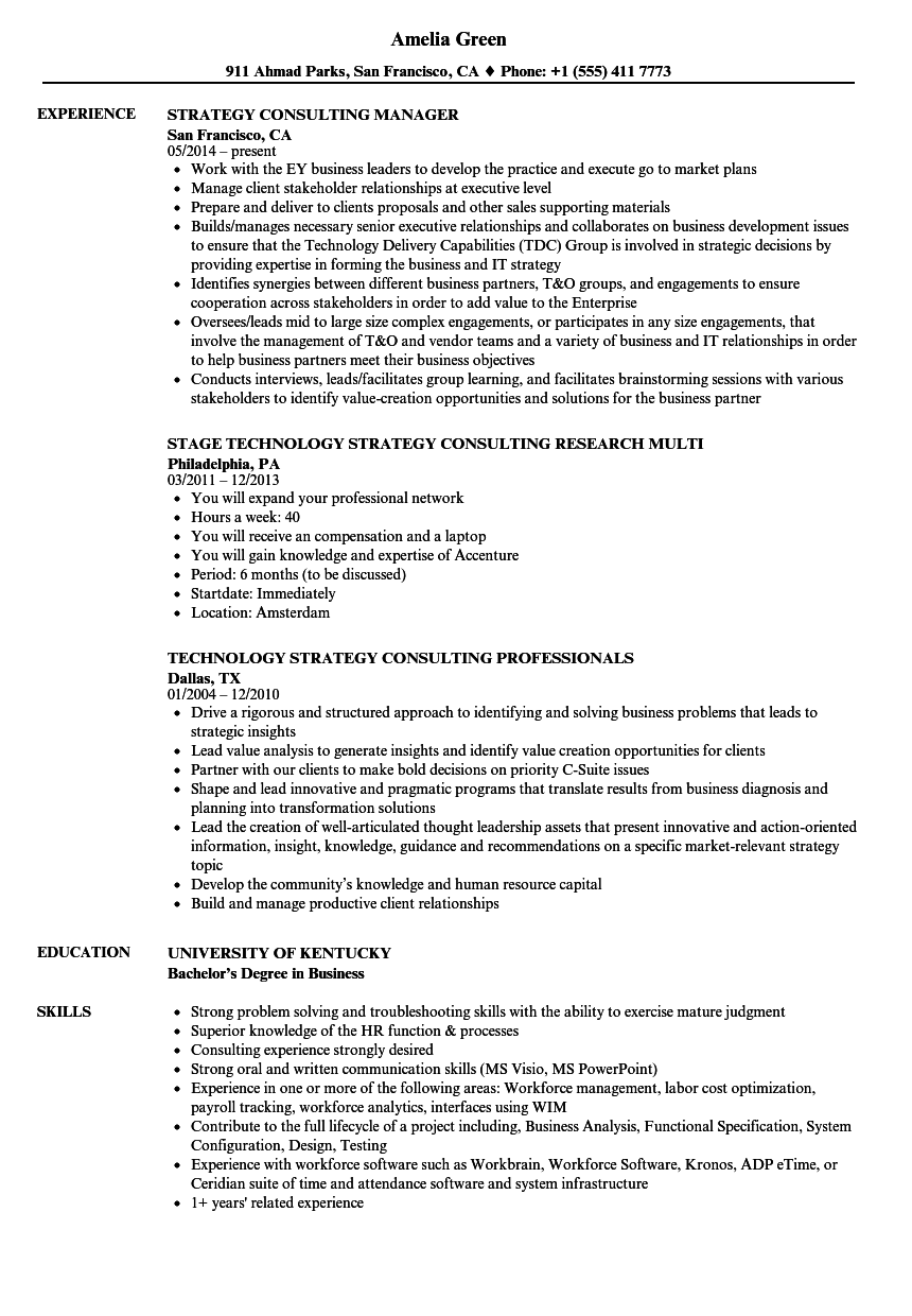 resume sample strategy consultant
