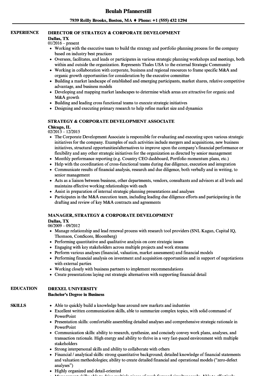 strategy corporate development resume samples velvet jobs