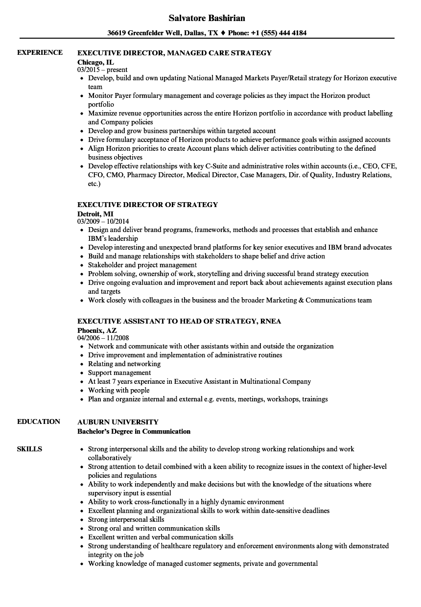 Strategy Executive Resume Samples | Velvet Jobs