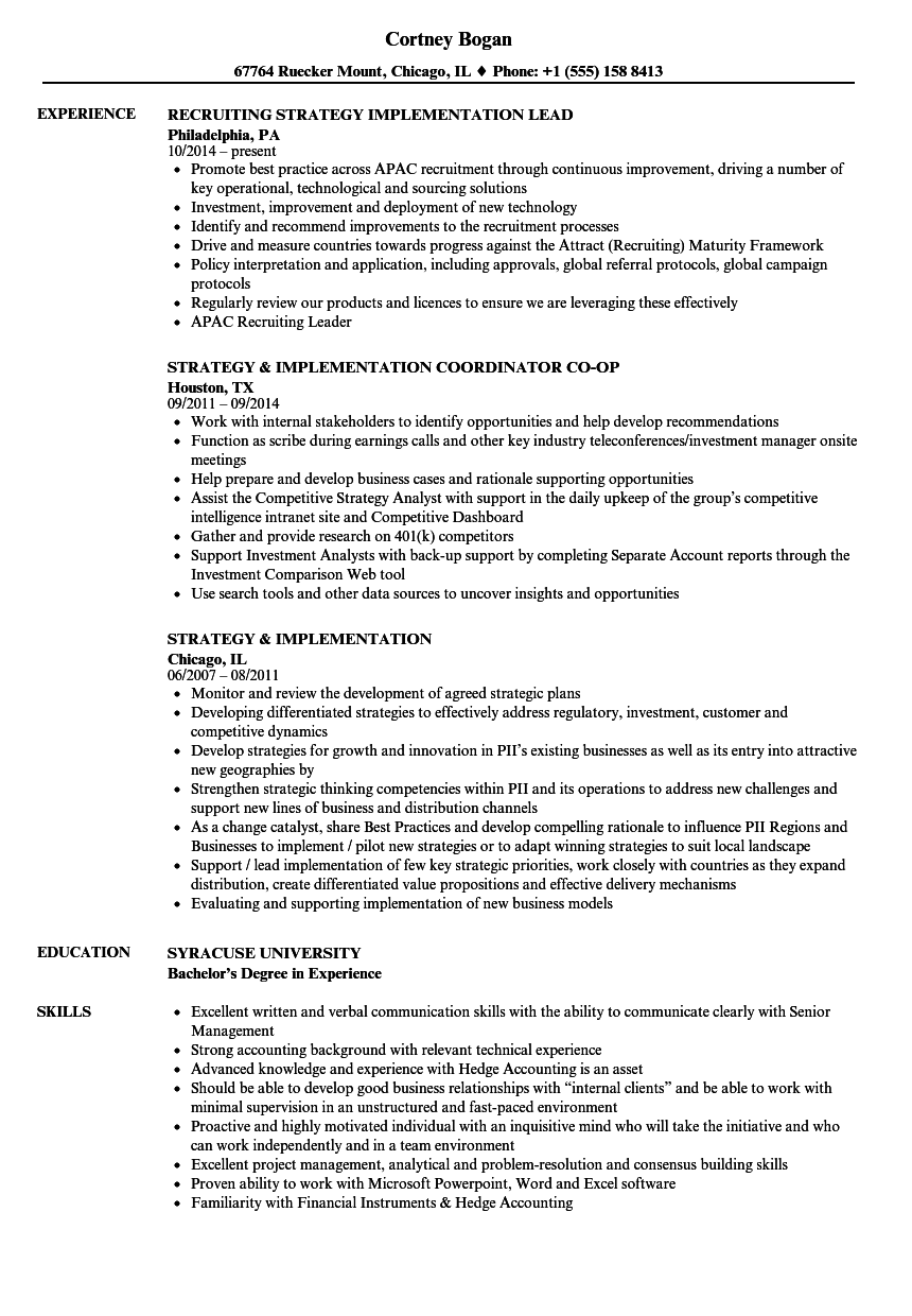 strategy  u0026 implementation resume samples
