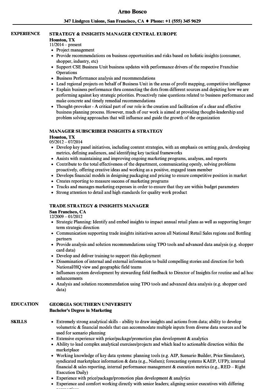 strategy insights manager resume samples