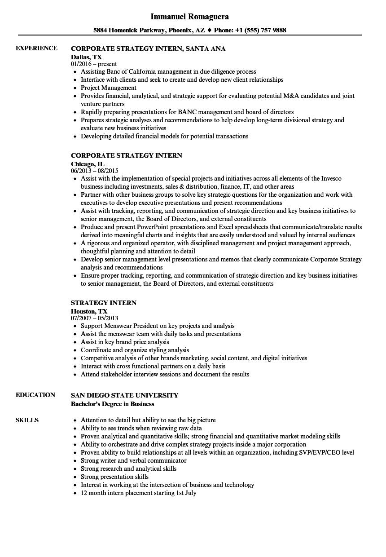 strategy intern resume samples