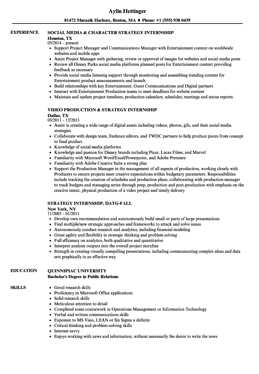 download strategy internship resume sample as image file - Internship Resume Examples