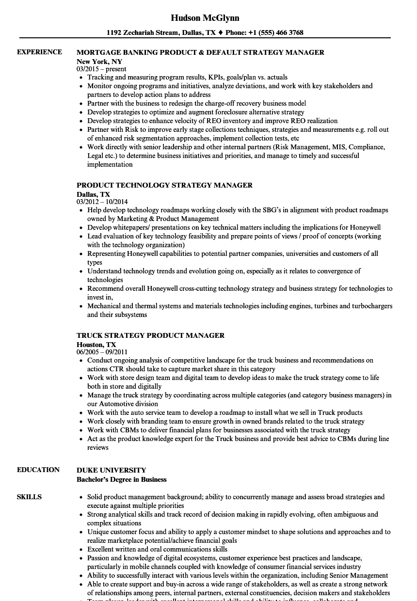 Strategy Manager Product Manager Resume Samples Velvet Jobs