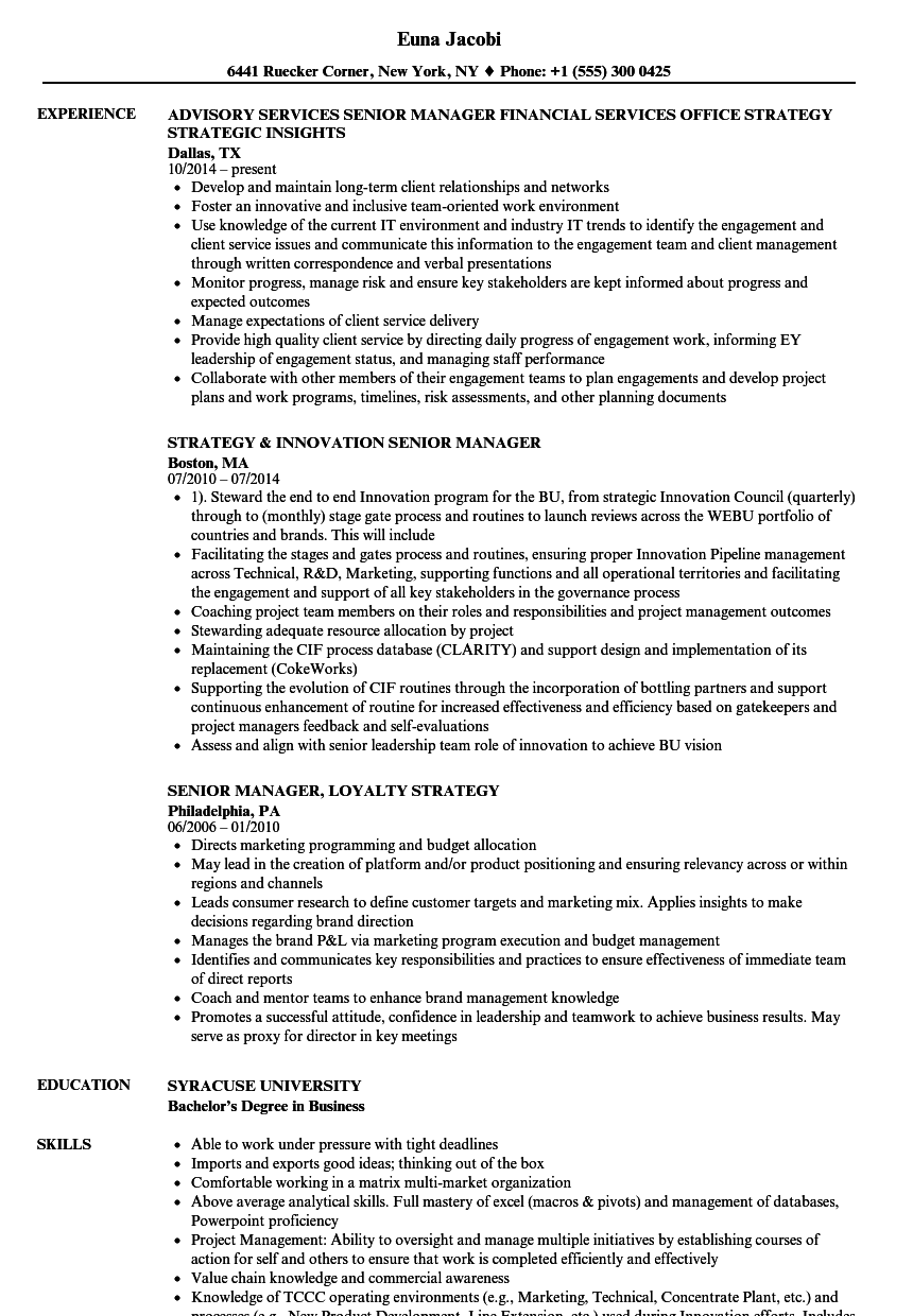 strategy manager    senior manager resume samples