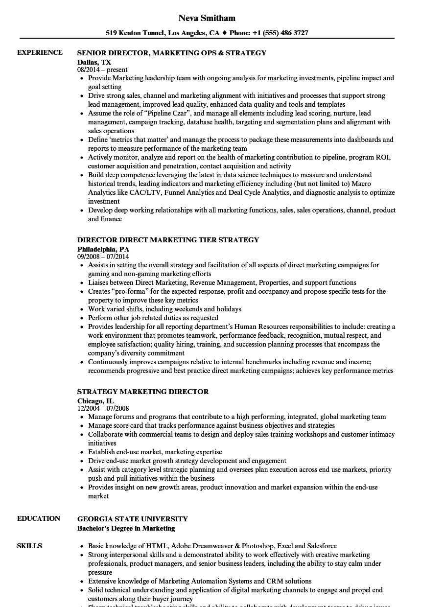 Strategy Marketing Resume Samples Velvet Jobs