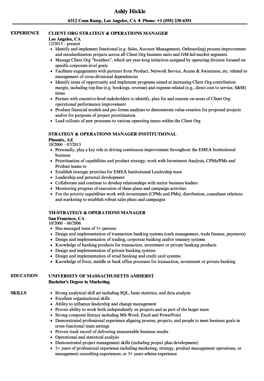 Strategy & Operations Manager Resume Samples | Velvet Jobs