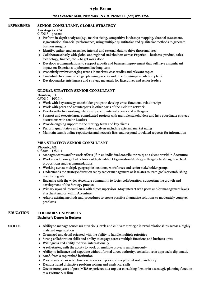 Strategy Senior Consultant Resume Samples | Velvet Jobs