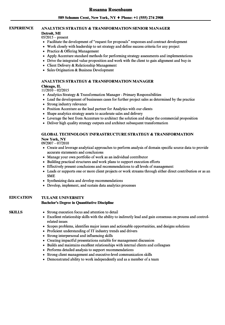 Strategy & Transformation Resume Samples | Velvet Jobs