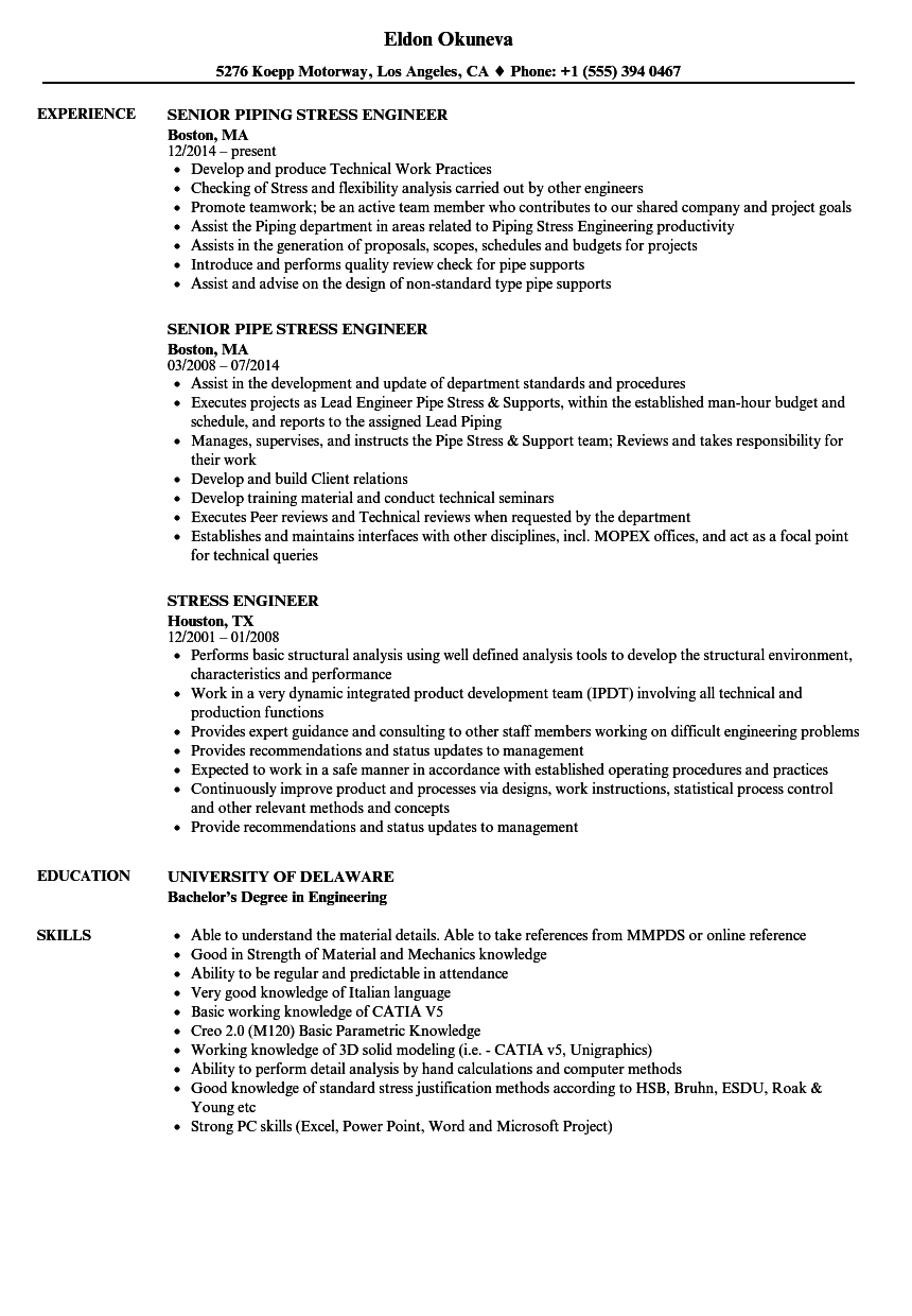 stress engineer resume samples