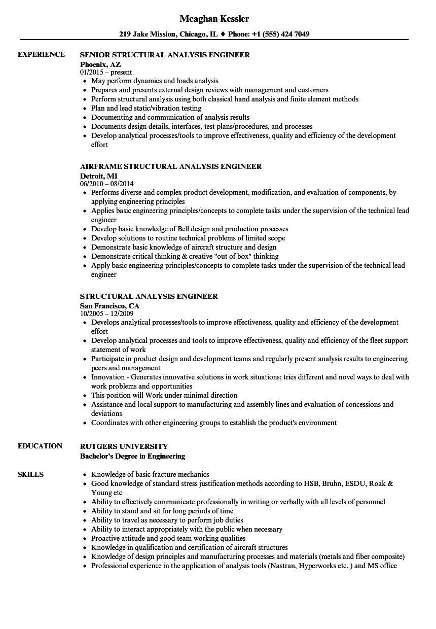 Resume Analysis Stunning Structural Analysis Engineer Resume Samples Velvet Jobs