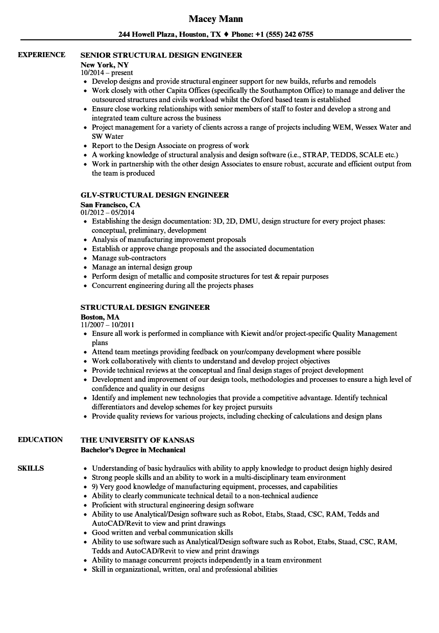 structural design engineer resume samples