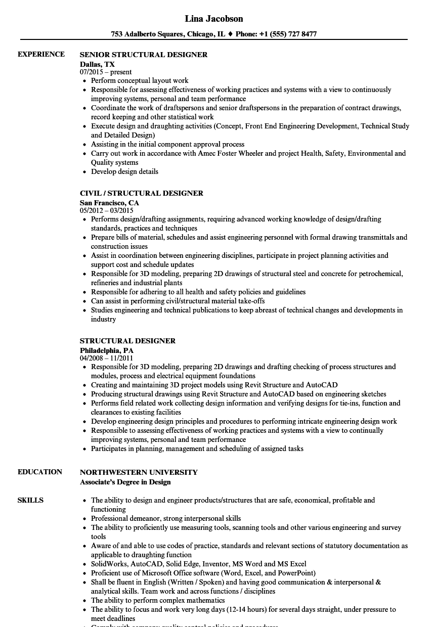 Structural Designer Resume Samples | Velvet Jobs