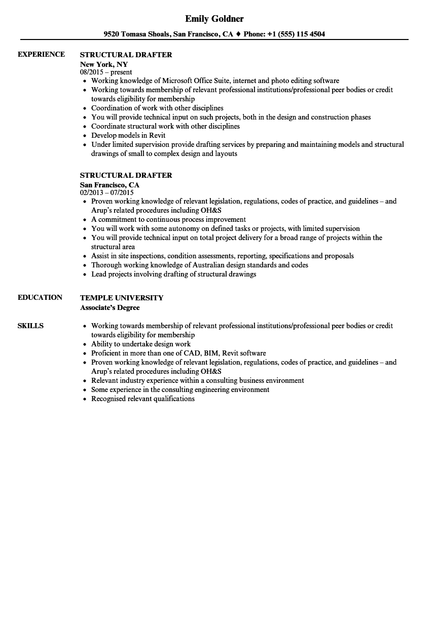 structural drafter resume samples