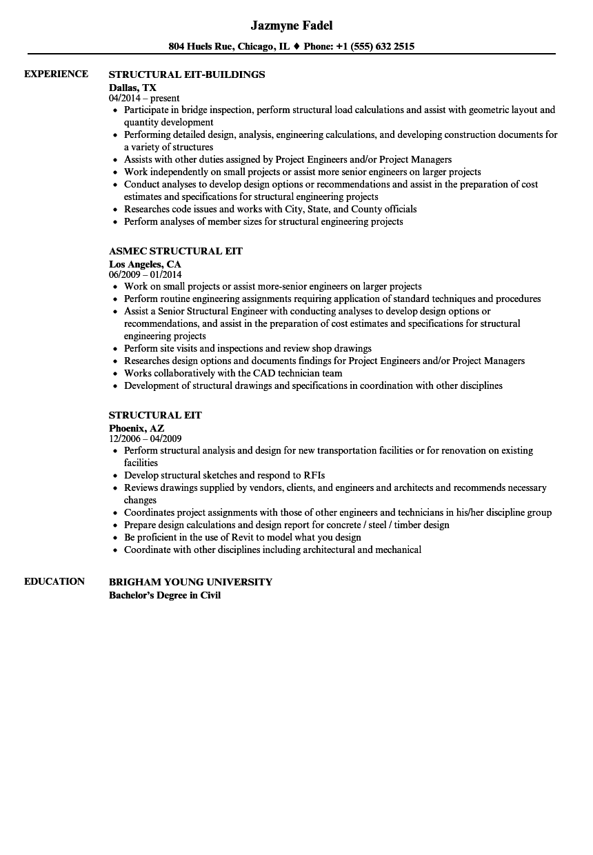 Structural EIT Resume Samples | Velvet Jobs
