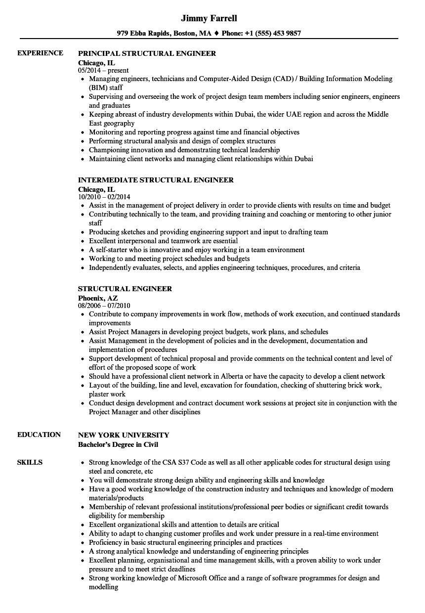 structural engineer resume samples velvet jobs - Structural Engineer Resume