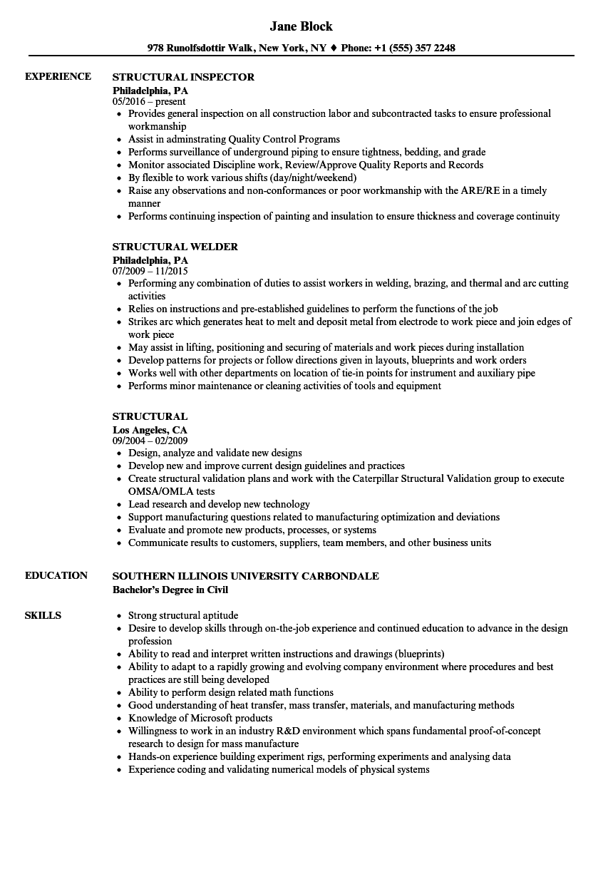 Structural Resume Samples | Velvet Jobs