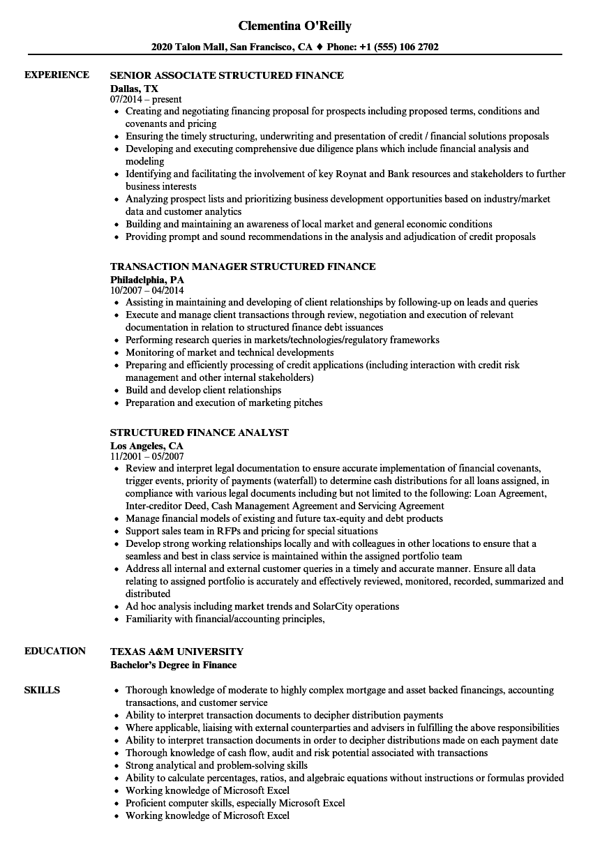 structured finance resume samples velvet jobs