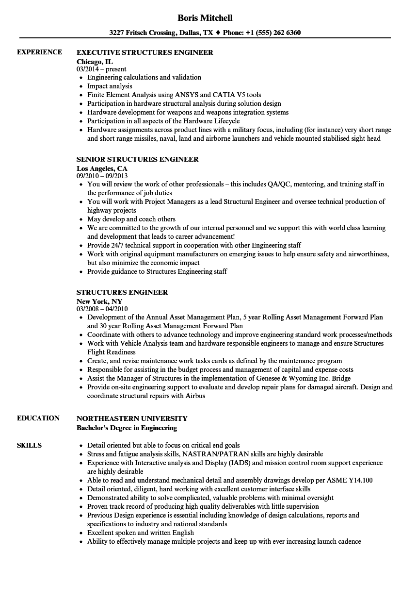 Structures Engineer Resume Samples | Velvet Jobs