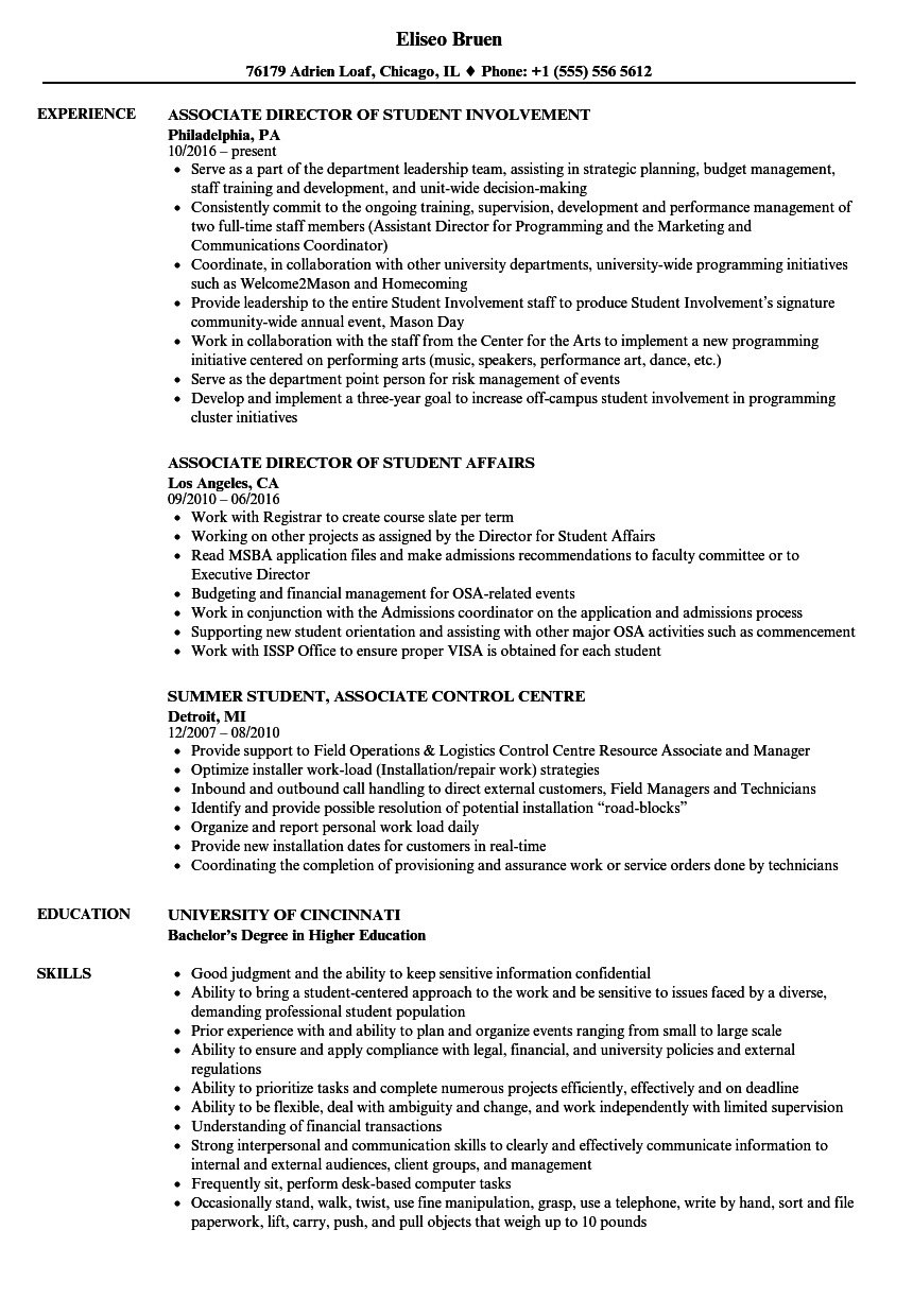 Student Associate Resume Samples Velvet Jobs