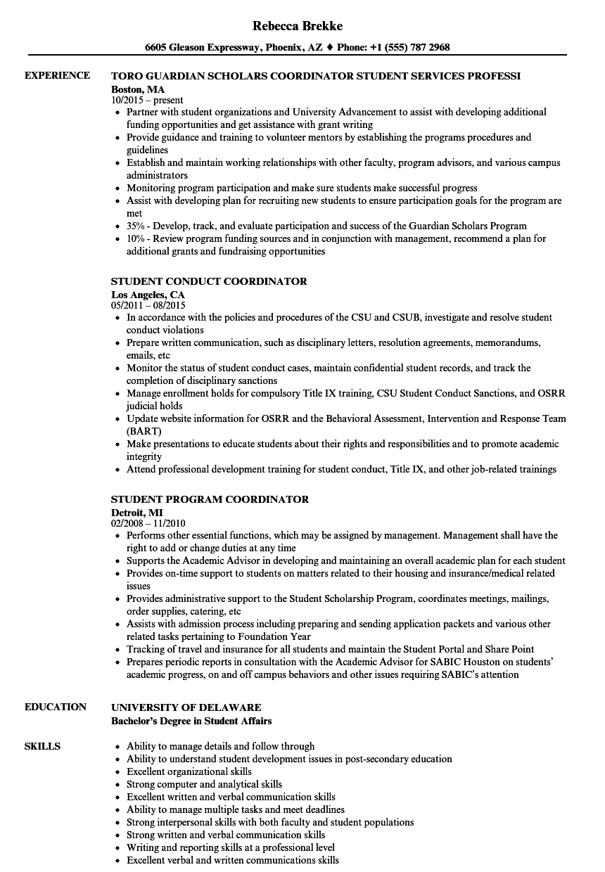 Student Coordinator Resume Samples | Velvet Jobs