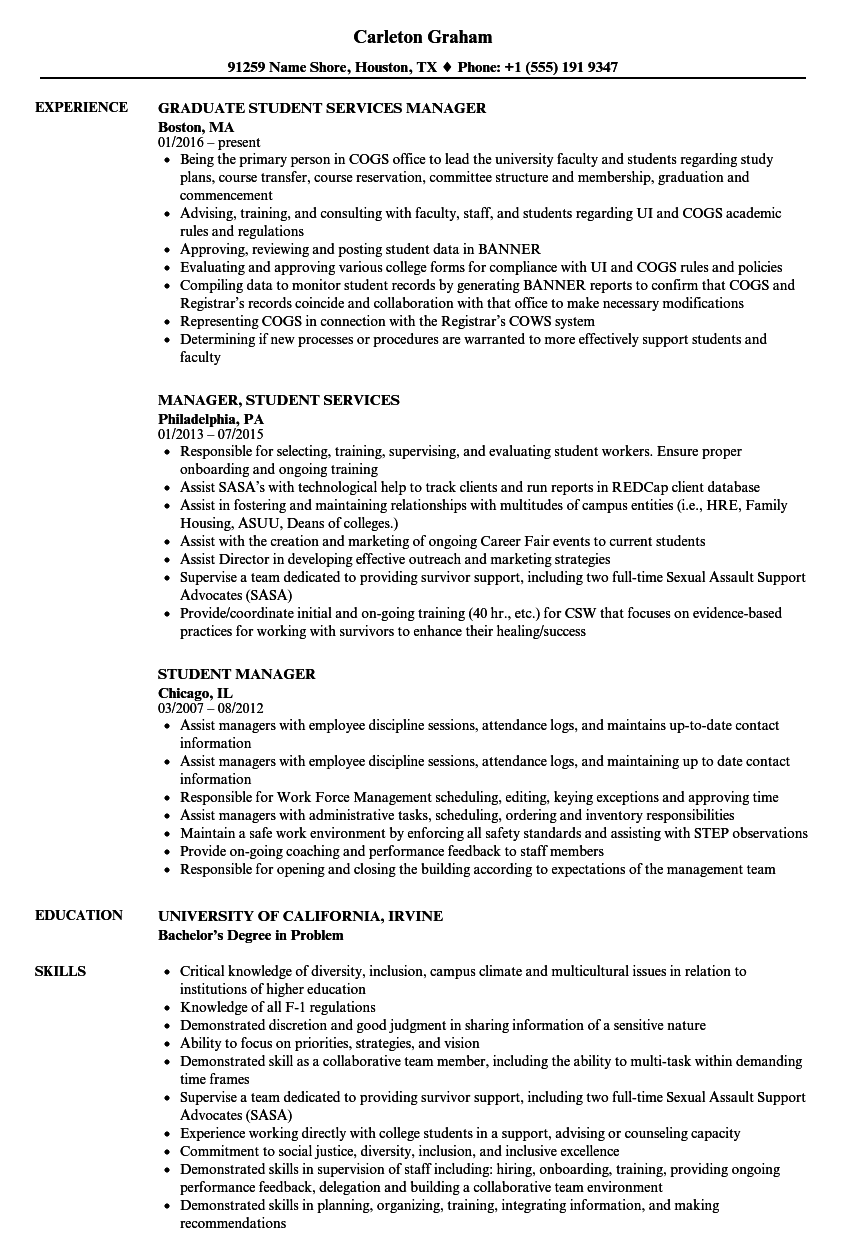 download student manager resume sample as image file - Sample Resume Of Student