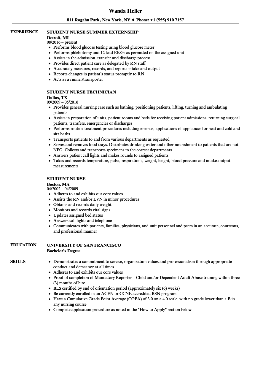 Student Nurse Resume Samples Velvet Jobs