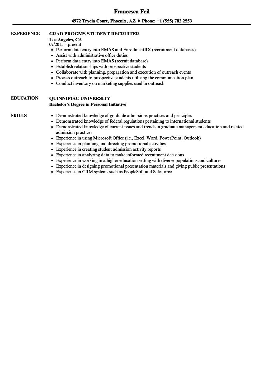 student recruiter resume samples