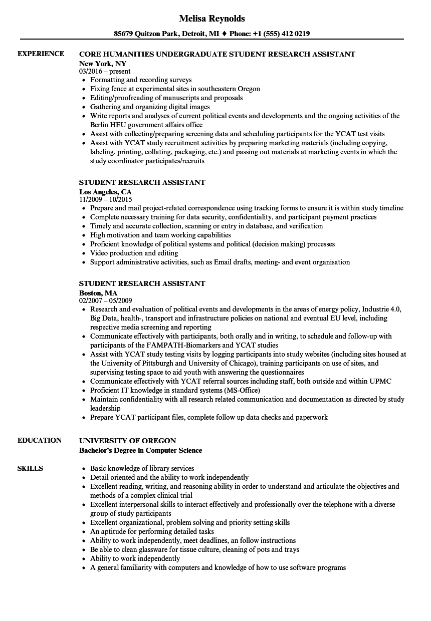 student research assistant resume samples