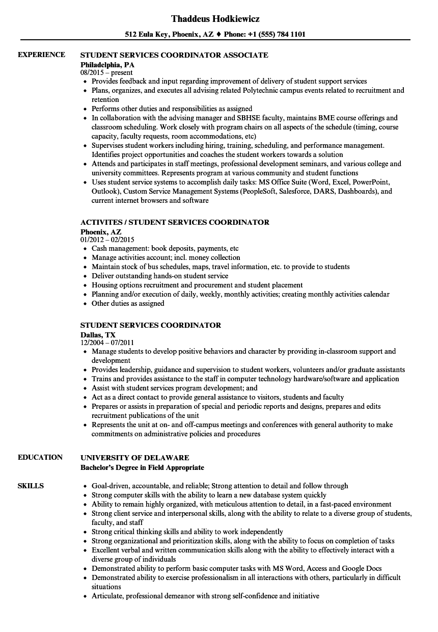 Student Services Coordinator Resume Samples | Velvet Jobs