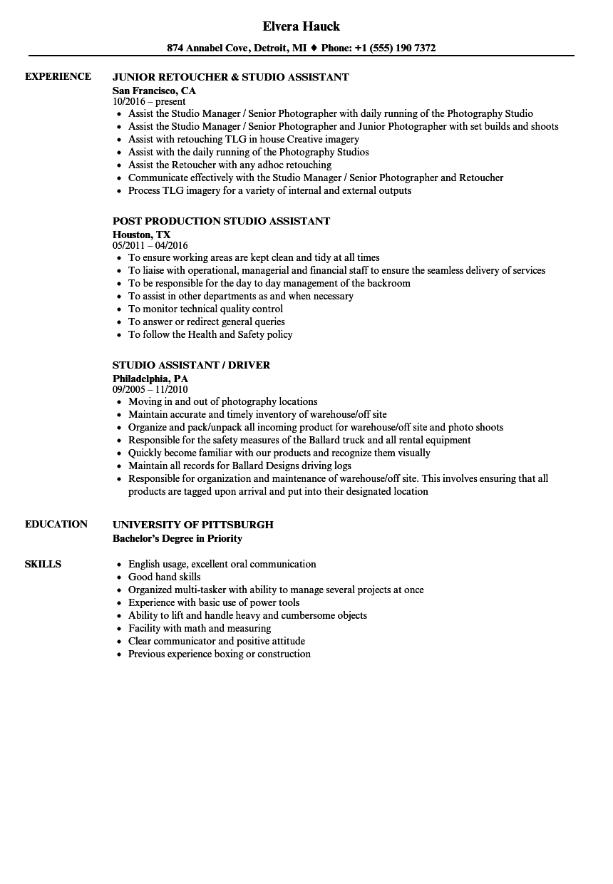 Studio Assistant Resume Samples | Velvet Jobs