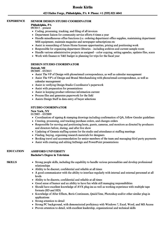 Studio Coordinator Resume Samples   Velvet Jobs
