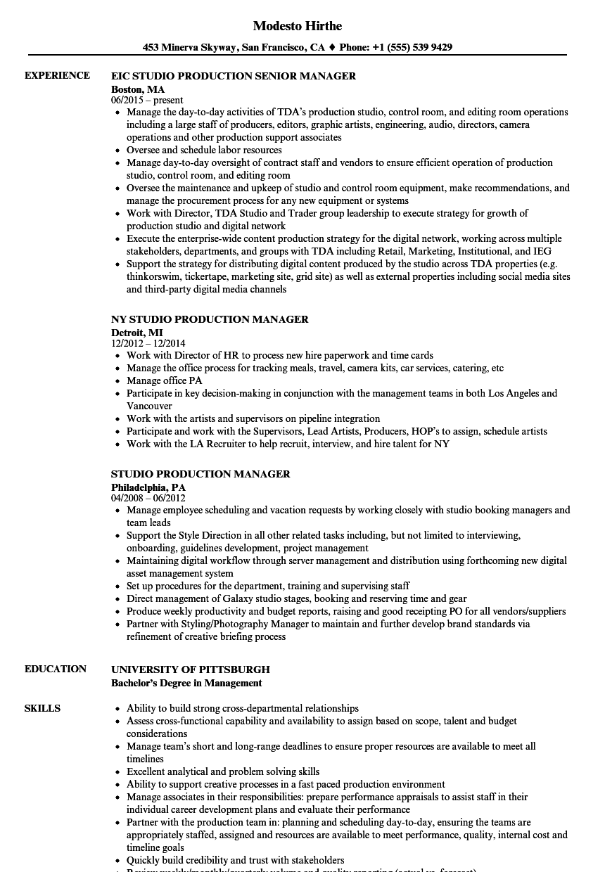 Studio Production Resume Samples Velvet Jobs - Tv internship resume examples