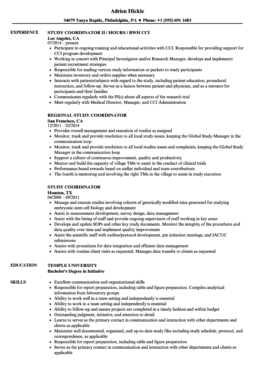 Study Coordinator Resume Samples Velvet Jobs