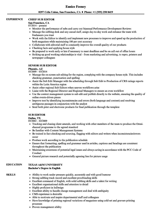 sub editor resume samples