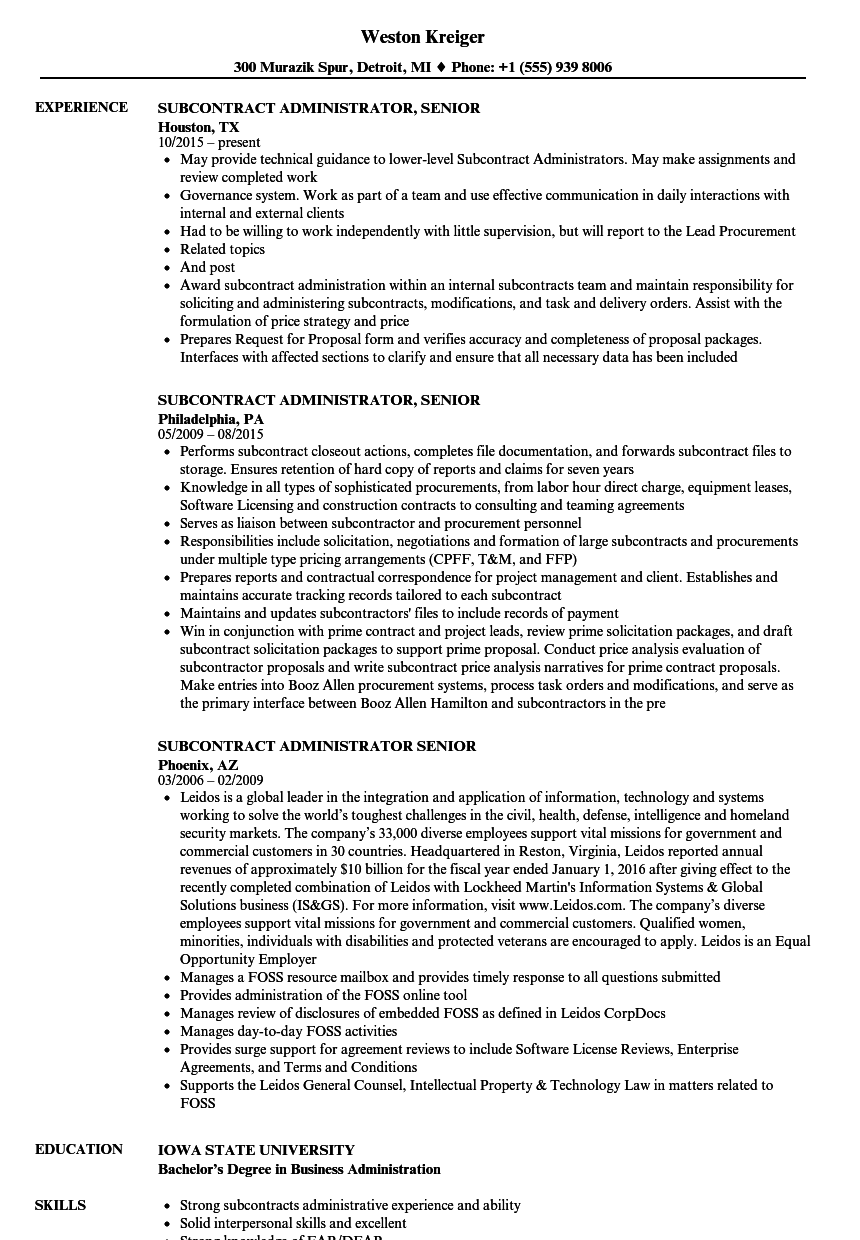 Subcontract Administrator Senior Resume Samples Velvet Jobs