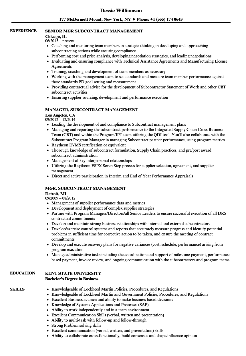 Subcontract Management Resume Samples Velvet Jobs