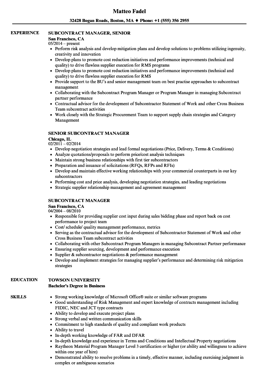 subcontract manager resume samples