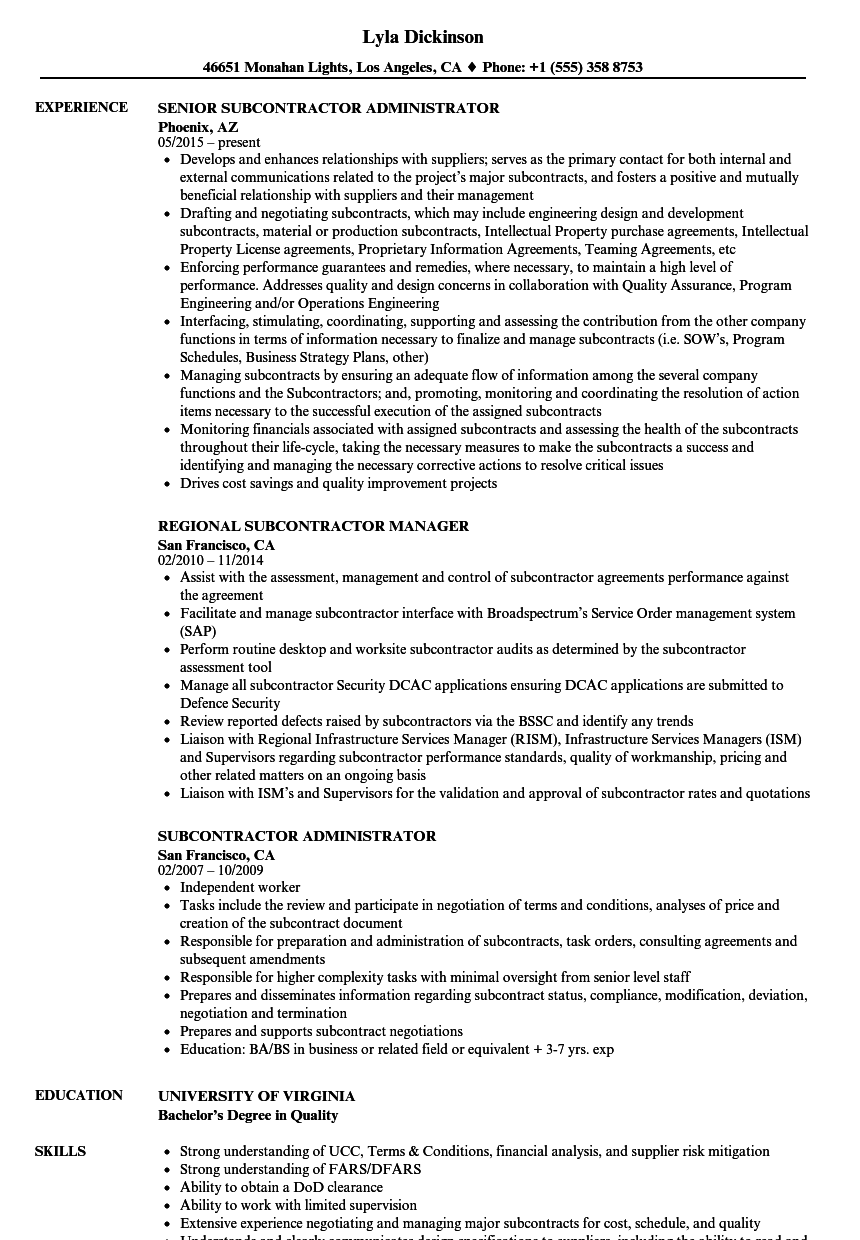 Download Subcontractor Resume Sample As Image File