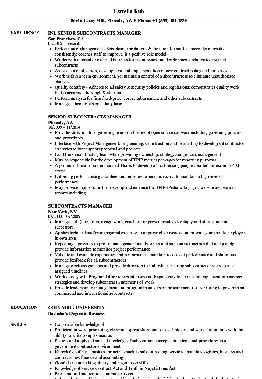 subcontracts manager resume samples