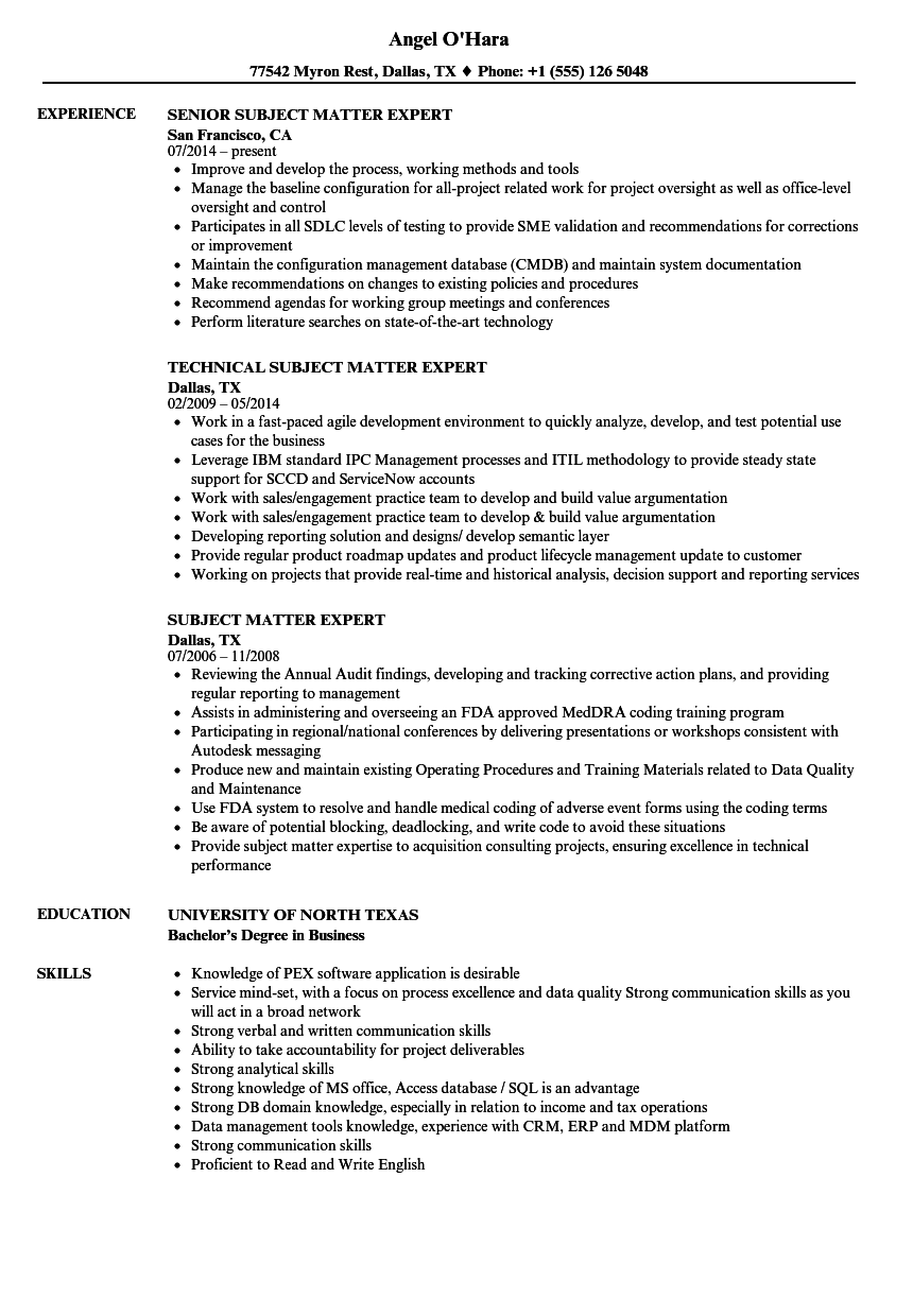 Subject Matter Expert Resume Samples | Velvet Jobs