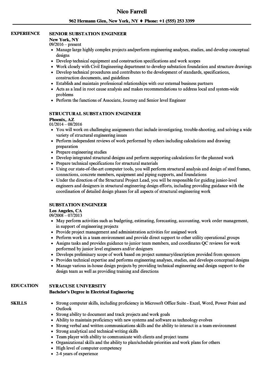 Electrical Substation Design Engineer Resume