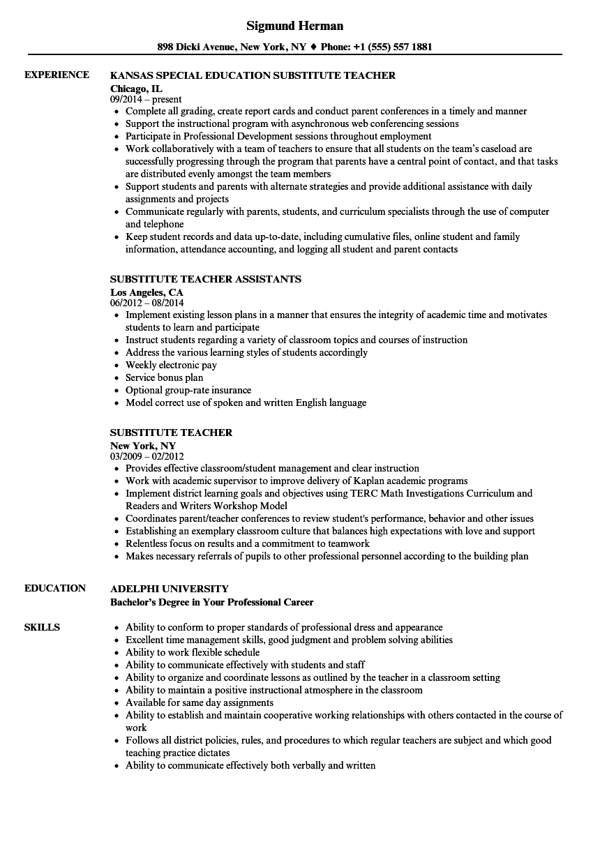 Substitute Teacher Resume Samples Velvet Jobs
