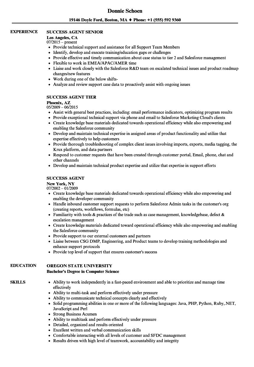 success agent resume samples
