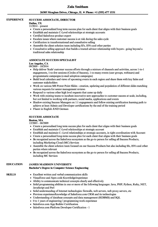 Success Associate Resume Samples Velvet Jobs