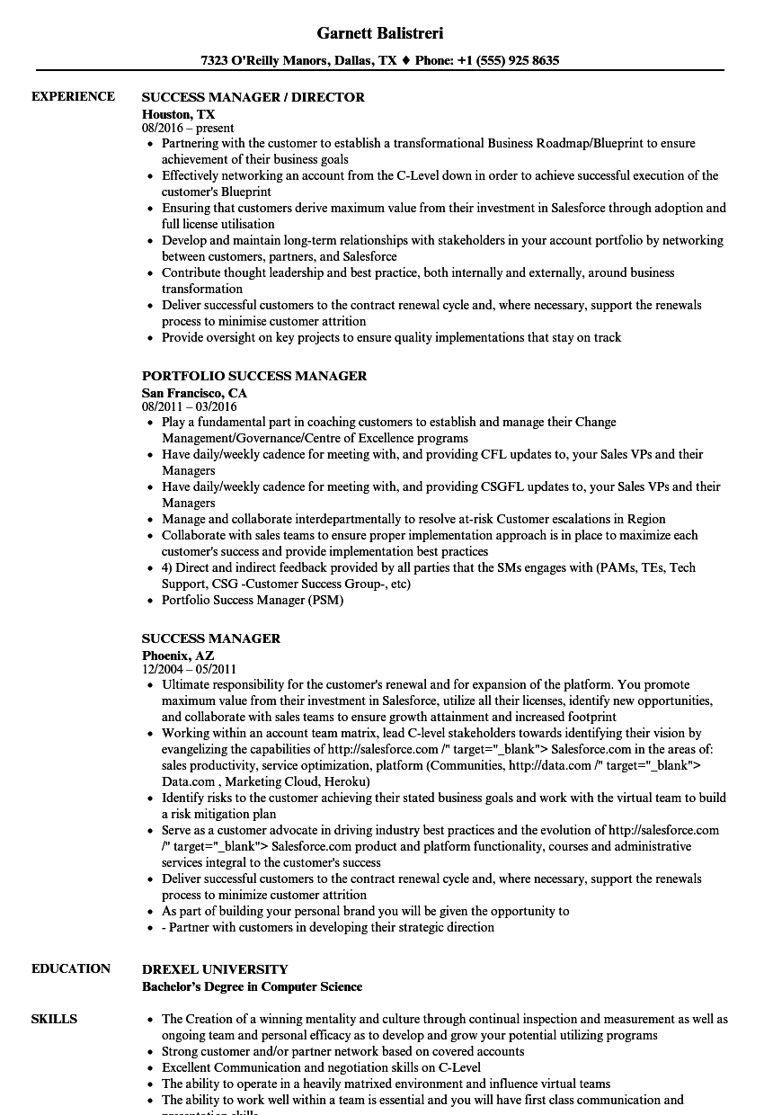 success manager resume samples